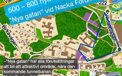 """500 – 800 nya lägenheter när """"Nya gatan"""" vid Nacka Forum byggs."""
